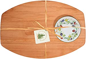 Out of the Woods of Oregon Single Bread & Oil Serving Board and Bowl (Olive Wreath)