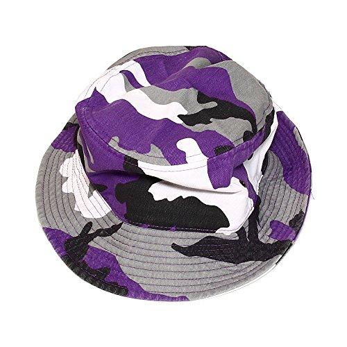 Galleon - Falari Men Women Unisex Cotton Bucket Hat Small Medium Purple Camo b83ef3a2435
