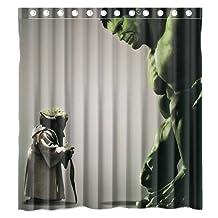 Custom Incredible Hulk and Star Wars Yoda Waterproof Polyester Fabric Bathroom Shower Curtain Standard Size 66(w)x72(h)