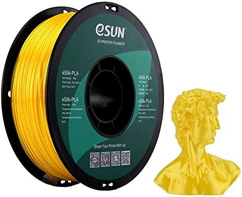 eSUNSilkPLA3DプリンターフィラメントシルクPLA寸法精度+/-0.05mm、1.75mm径3Dプリンター用正味量1KG(2.2LBS)スプール造形材料PLA樹脂材料(イエロー)