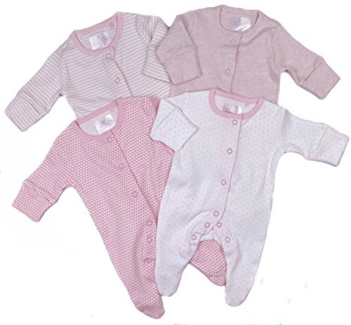 Baby Girls Ex Store Four Pack Sleepsuits Baby Grows TB To 18-24M Pretty Pinks (0-1 Month)