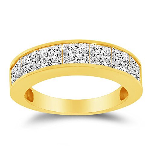 (Size - 9 - Solid 14k Yellow Gold 5mm Princess Cut Invisible Wide Anniversary Ring Wedding Band CZ Cubic Zirconia 2.0cttw.)