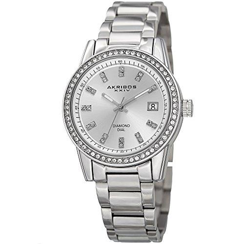 - Akribos XXIV Women's Swarovski Watch - Genuine Diamond Hour Markers on Sunburst Dial, Crystal Accented Bezel on Stainless Steel Bracelet Watch - AK928