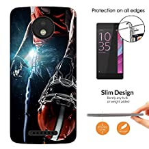 "002671 - Awesome American Football Player Helmet Sports Design Motorola Moto C Plus 5"" Fashion Trend CASE Ultra Slim Light Plastic 0.3MM All Edges Protection Case Cover-Clear"