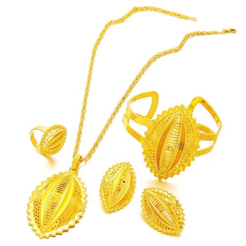 Ethlyn New Arrival 24K Gold Plated Ethiopian Women Jewelry Sets Habesha Eritrean Items