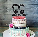 Customizable Gay Same Sex Gay Gay Silhouette Bearded Men For Men Gift Wedding Cake Toppers Mr Mrs Bride And Groom Silhouette Wedding Gift