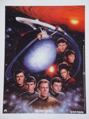 Star Trek Original Series Litho Poster with full cast William Shatner Leonard Nimoy DeForest Kelley James Doohan George Takei Nichelle Nichols Walter Koenig and the ship 12 x 16 Inches by Keith Birdsong from Lightspeed