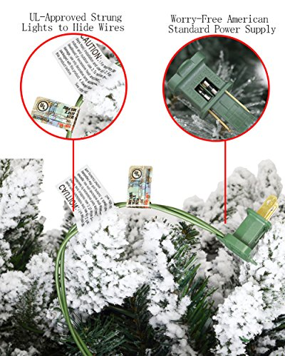 ABUSA Flocked Prelit Artificial Christmas Tree 7.5 ft Snowy Spruce with 700 LED Clear Lights 1452 Branch Tips by ABUSA (Image #4)
