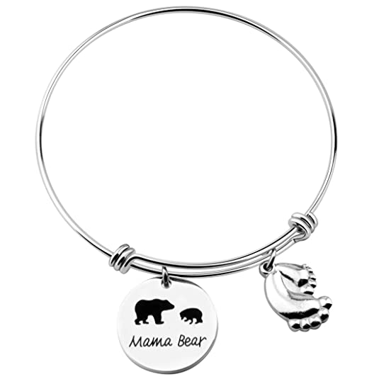 MAOFAED Personalized Mama Bear Bracelet, Mama Bear Jewelry, Mother's Day Gift for Mother,Wife Gift Jewelry (Mama Bear 1 cub-1)