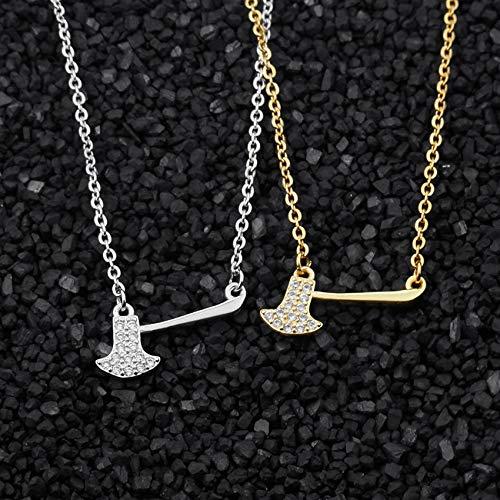 Metal Color: Gold-Color Davitu DIANSHANGKAITUOZHE 10pcs 2018 Splitting Wood CZ Hatchet Pendant Necklace Women Men Jewelry Gold Color Chain Choker Bijoux Femme
