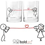 BOLDLOFT Say I Love You His and Hers Drinking Glasses-Christmas Gifts for Girlfriend or Wife, Christmas Gifts for Couples, Gifts for Her, Valentines Day Gifts for Her, Romantic Anniversary Gifts