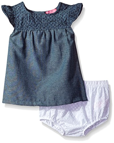 Piece 12 Eyelets (Isaac Mizrahi Baby Girls' 2 Piece Rear Snap Sundress with Diaper Cover, Blue Chambray, 12 Months)