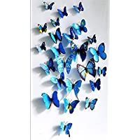 Lot de 12 stickers muraux de Papillons 3D