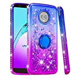 Cfrau Compatible with Moto G6 with Black Stylus,Luxury Liquid Glitter Ring Kickstand Shockproof Quicksand Bling Cute Diamond Girls Women Cover for Moto G6,Blue + Purple