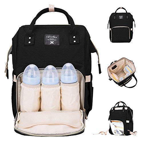 Diaper Bag Multi-Function Waterproof Travel Backpack Nappy Bags for Baby Care, Large Capacity, Stylish and Durable, Mom Bag by Lifecolor (Black) from lifecolor