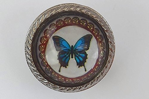 Beautiful Blue Butterfly Design Set In Glass With Metal Surround Door Knob Vintage Shabby Chic Cupboard Drawer Pull Handle Emmas Boutique Shop