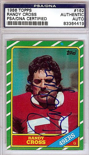Randy Cross (Randy Cross Signed 1986 Topps Trading Card - Certified Genuine Autograph By PSA/DNA - Autographed NFL Signature)