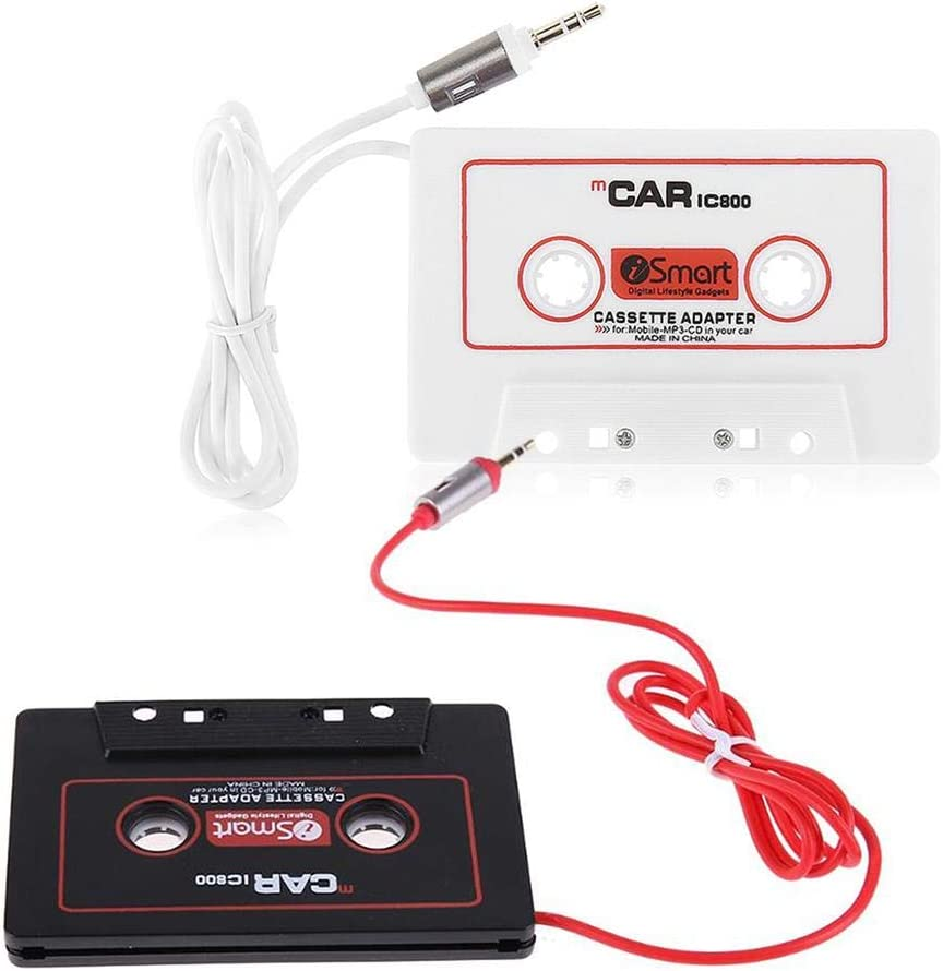 iPod Android Phones Universal Car Audio Travel Cassette Adapter 3.5mm AUX Audio Music Cassette Tape Player Adapter Car Audio Stereo Tape Cassette Aux Adapter Compatible for iPhone iPad
