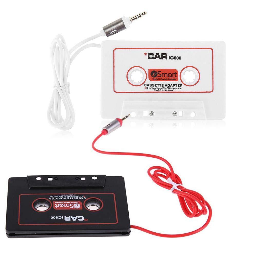 Adaptador de cassette de viaje universal de audio para el automóvil de con cable de 40 mm -AUX Audio de casete de audio AUX de 3,5 mm Convertidor de MP3 para iPhone, iPad, teléfonos Android, MP3