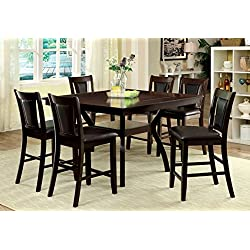 Furniture of America Dalcroze 7-Piece Modern Pub Dining Set, Dark Cherry