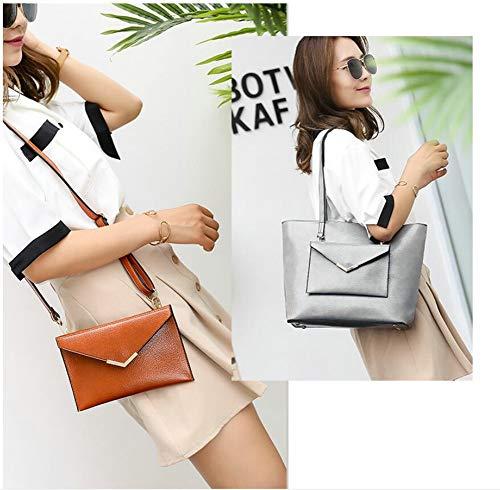 Shoulder Tote Handbags Satchel PU and Grey Top Handbags C Ladies Womens Handle QUEENTOO Bag Purses Capacity Leather Designer Large qZwgP0xn