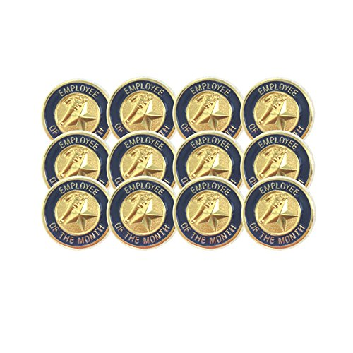 3/4 Inch Employee of The Month Lapel Pin - Package of 12, Poly Bagged