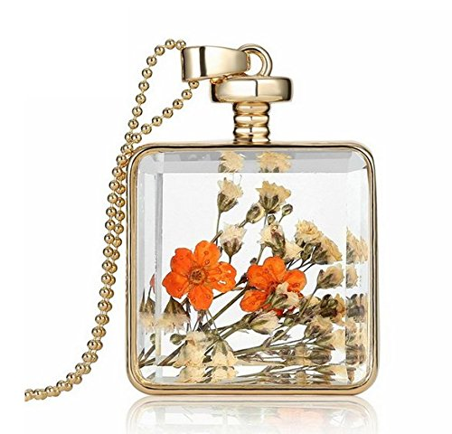 Square Glass Wishing Bottle Pendant Korean Crystal Diamond Healing Gemstone Chip Bead Necklace