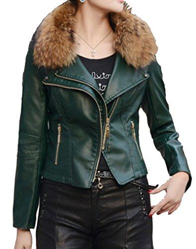 Helan Mujeres PU chaqueta de cuero corta Motocicleta Deportes Con el Real mapache cuello de piel Verde