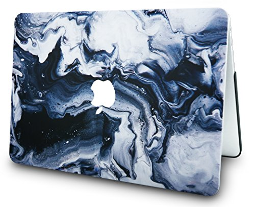 """KECC Laptop Case for New MacBook Air 13"""" Retina (2019/2018, Touch ID) w/Keyboard Cover +Screen Protector Plastic Hard Shell A1932 3 in 1 Bundle (Black Grey Marble)"""