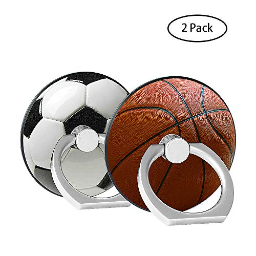 Finger Ring Stand 2 Pack,Stylish 360°Rotation Cell Phone Ring Holder Kickstand Compatible for iPhone X 8 7 6 Plus, Samsung Galaxy S8 S9, Note iPad Moto Google Smartphone (Basketball+Football)