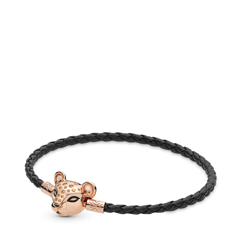PANDORA Moments Woven Leather Bracelet with Black and Sparkling Lion Princess Clasp PANDORA Rose, Size: 20.5cm, 8.1 inches - 588053CBK-S3 by PANDORA
