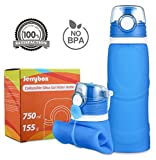 Jerrybox Collapsible Water Bottle - 750ml, Silica Gel, Medical Grade, BPA Free, FDA Approved, Leak Proof Silicone Foldable Sports Bottle, for Sports, Outdoor, Travel, Camping, Picnic(26 oz,Blue)