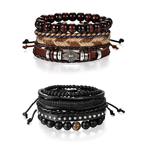 Bracelets Hemp Wholesale (Oidea 8 PCS Multi-Layer Stackable Wood Beads Charm Leather Braised Wrap Bracelets Sets with Hemp Cords Tribal Cross Charm)