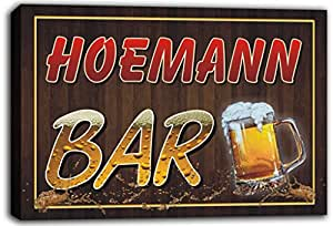 scw3-073508 HOEMANN Name Home Bar Pub Beer Mugs Cheers Stretched Canvas Print Sign