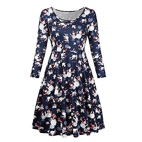 Women Dress,Vintage Long Sleeve A-Line Dress,Christmas Party Dress for Women,Loose Snowman Print Dresses (XX-Large, Navy)