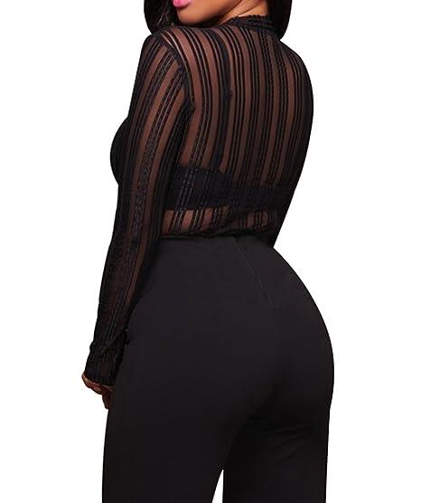 Disheen Striped Mesh Bodysuit d12befab3
