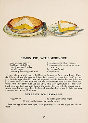 (Posterazzi War Time Recipes 1918 Lemon pie with meringue Poster Print by Janet McKenzie Hill (18 x 24))