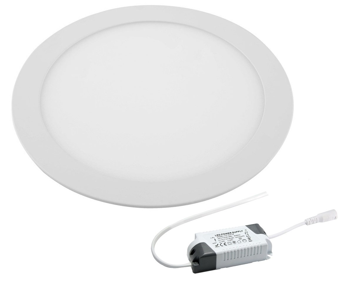 18W LED Round Recessed Ceiling Flat Panel Down Light Ultra slim Lamp Cool White 6500K [Energy Class A+] Long Life Lamp Company