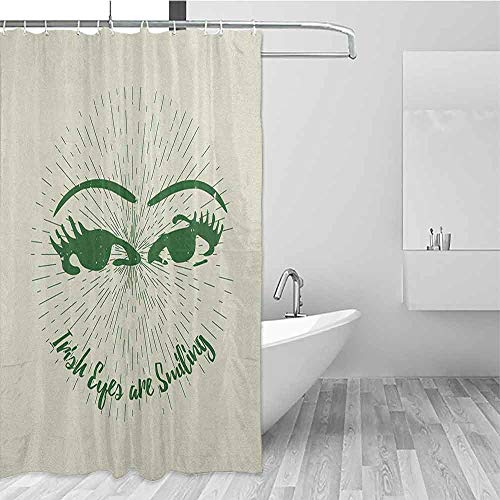 GloriaJohnson Eyelash Fabric Bathroom Decoration Hand Drawn Abstract Eye Pattern with Lined Background and Irish Quote Design Waterproof Polyester Shower Curtains W94 x L72 Inch Emerald Cream