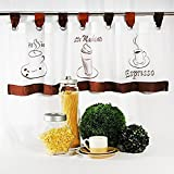 Kamaca Curtains with modern'Coffee Time' design with tabs white voile embroidered with three coffee motifs (approximate height 40 x width 120 cm - Great gift idea - Bistro curtains