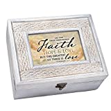Cottage Garden Faith Hope Greatest Is Love Whitewashed Old World Music Box Plays Friend In Jesus