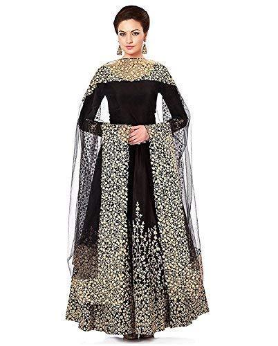 495445ef6c Radhika Creation Women s Semi-Stitched Tapeta Silk Salwar Suit with Dupatta  (Black