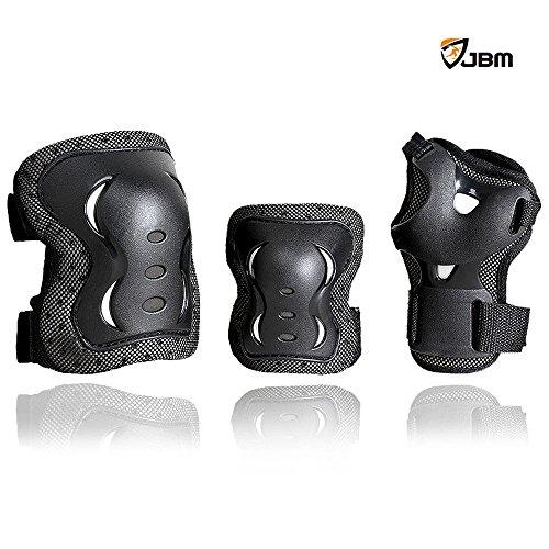 JBM¨ Children Cycling Roller Skating Knee Elbow Wrist Protective Pads--Black / Adjustable Size, Suitable for Skateboard