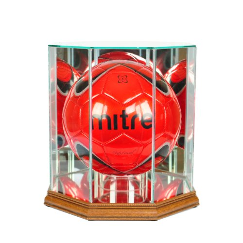 (Perfect Cases MLS Octagon Soccer Ball Glass Display Case, Walnut)