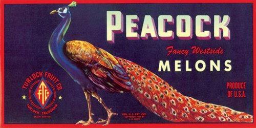 PEACOCK FANCY WESTSIDE MELONS CALIFORNIA USA CRATE LABEL PRINT REPRODUCTION