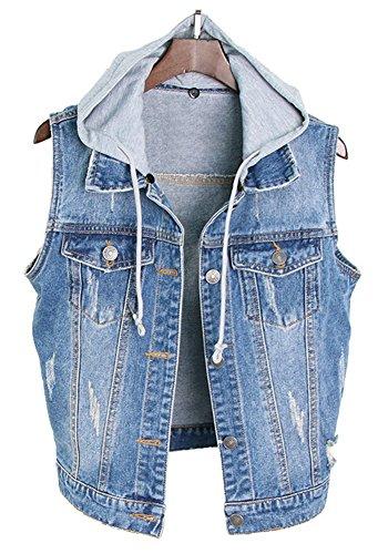 LifeShe Womens Sleeveless Vintage Drawstring Denim Vest Jackets with Hood (Blue, M) (Vest Denim Vintage)