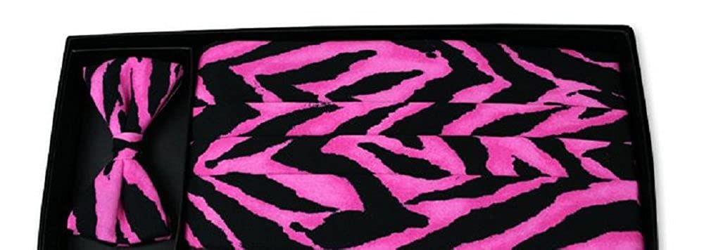 Hot Pink Tiger Tuxedo Cummerbund and Bowtie Set