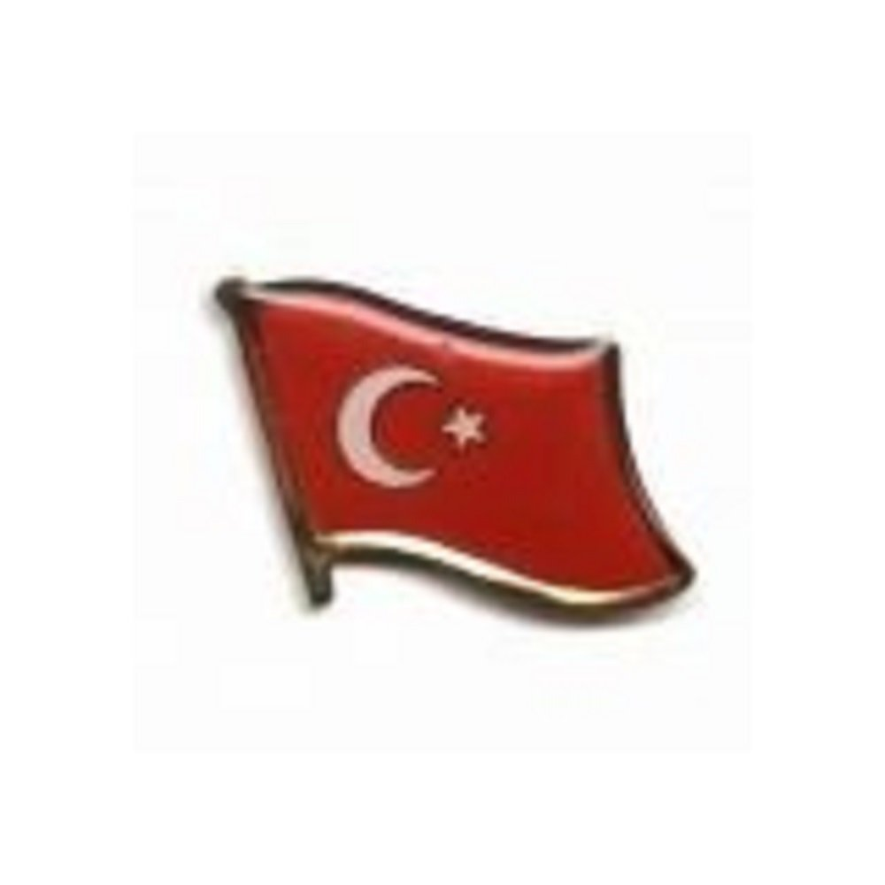 Turkey Turkiye Country Flag Small Metal Lapel Pin Badge ... 3/4 X 3/4 Inches ... New
