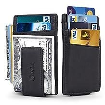 AOKE RFID Blocking Genuine Leather Vintage Magnetic Front Pocket Money Clip Wallet