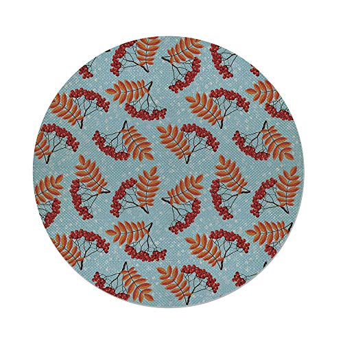 Cotton Linen Round Tablecloth,Rowan,Abstract Backdrop with Dried Leaf and Bunch of Vivid Berries Mountain Ash Decorative,Light Blue Red Orange,Dining Room Kitchen Table Cloth Cover